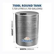 7500 Litre Round Aquaplate Steel Water Tank