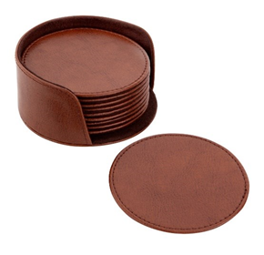 Round Leather Coasters with Holder