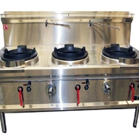 Oxford Horizontal Three Hole Waterless Wok Gas Cooktop
