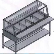 Hot Food Display Square Glass 4 Trays GLHF4GN