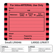 "Medical Identification Label ""For Intra-ARTERIAL Use Only"""