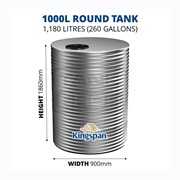 1000 Litre Round Aquaplate Steel Water Tank