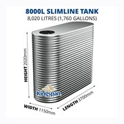 8000 Litre Slimline Aquaplate Steel Water Tank