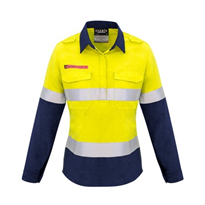 Hi-Vis WorkWear | Syzmik Womens FR Closed Front Hooped Taped Spliced