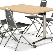 Folding / Flip Top Mobile Meeting Room Table with Wheels