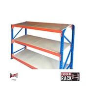 Longspan Shelving – 1 bay of 3 shelf levels (with steel panel shelving