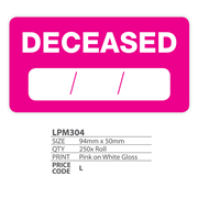 Medical Labels - Deceased