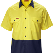 Ventilated Hi-Vis Two Tone Shirt | Yakka Koolgear Short Sleeve