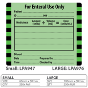 "Medical Identification Label ""For Enteral Use Only"""