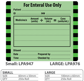 "Medical Label ""For Enteral Use Only"""