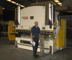 John Roetman Prod. Manager API Security with his new Dye 170 tonne x 3m Press brake.