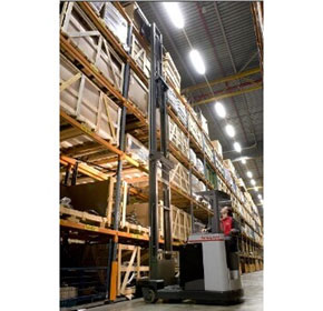 Nissan warehouse reach trucks stack up