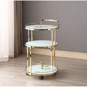Cocktail Trolley - Gold with White Glass Shelves