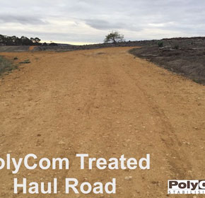 PolyCom treated roads withstand heavy loads