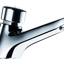Time Flow Basin Pillar Tap | Push Button | Enware | Delabie Tempostop