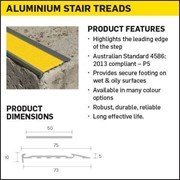 Aluminium Stair Tread Nosings with non slip insert