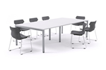 Modern Boardroom Table White Top White Legs