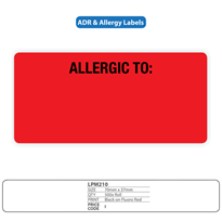 Medical Identification Labels for Allergy - Adverse Reaction