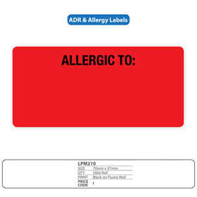 Medical Labels for Allergy - Adverse Reaction