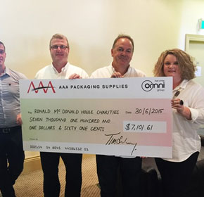 AAA Packaging Supplies supports McDonald House Charities