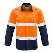 SYZMIK FIRE ARMOUR Mens Hi Vis Inherent Fire Retardant Shirt TAPED