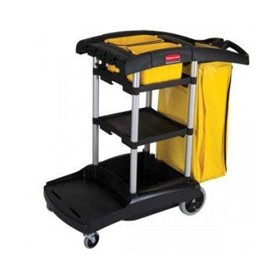 Janitorial High Capacity Cleaning Cart Black