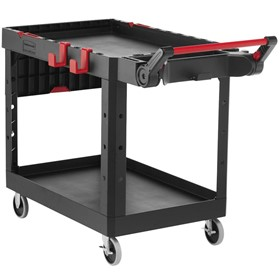 Black Adaptable Heavy-Duty Medium Two Shelf Utility Cart