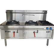 Horizontal Two Holes Waterless Wok With 2 Side Burners