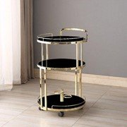 Cocktail Trolley - Gold with Black Glass Shelves