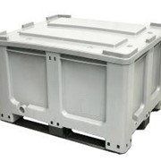 CTR 760 Solid 610L Plastic Pallet Storage Bin & 3 Skids Runner in Grey