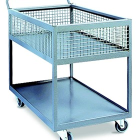 Powder-coated two-tier industrial trolleys