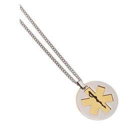 Medical ID Alert Pendant | Stainless Steel Brass Pivot Pendant