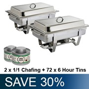 Chafing Combo 2 x 1/1 Stainless Steel Chafing Dish + 72 x 6 Hr Tins