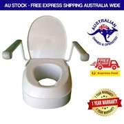 Raised Toilet Seat with Armrests Height Adjustable