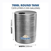 7000 Litre Round Aquaplate Steel Water Tank
