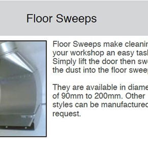 Floor Sweeps, Lathe Hood Kits, Weld Ends, Inspection Doors for Ducting