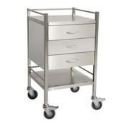 Stainless Steel Hospital Rounds Trolley with 3 x Draws and Rail