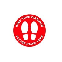 Keep Your Distance Floor Marking Sign - 300mm - Self Adhesive