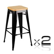 Replica Tolix Bar Stool | Bamboo Seat | Set of 2 | AIM