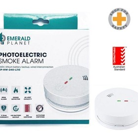 Emerald Planet Wired Intercon Photoelectric Smoke Alarm Li Battery