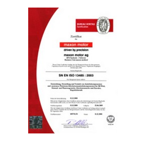 maxon medical has ISO 13485 certification