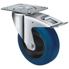Blue Rubber Castors | TE21ENR_SB | Castors & Trolley Wheels