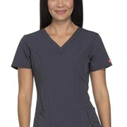82851 Dickies Xtreme Stretch Womens V-Neck Stylish Medical Scrubs Top