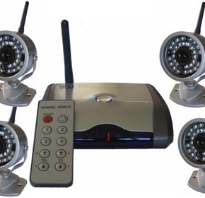 4 Outdoor Wireless Cameras With Remote Controlled Switching Receiver