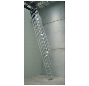 AM-BOSS Cage Access Ladder With Flat Treads, Full-length Handrails, & Optional Telescopic Stanchions