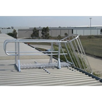 AM-BOSS Cage Access Ladder With Cage, Aluminium Handrailing & Walkway