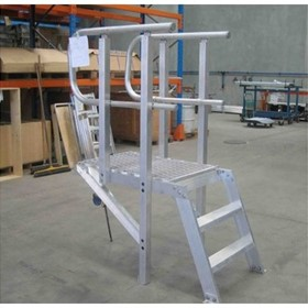 AM-BOSS Parapet / Overpass Access Ladder In Welded Aluminium Complete With Platform & D-handrails