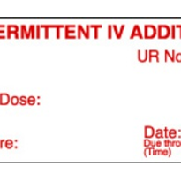 Intermittent IV Additive Labels