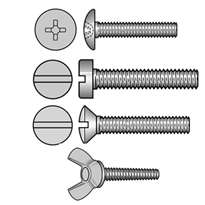 Truss Head, Cheese Head, Raised CSK Machine Screws and Wing Screws