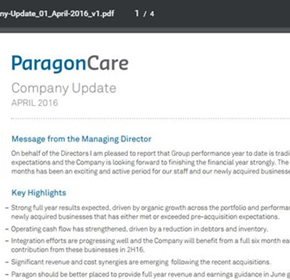 Paragon Care Company Update